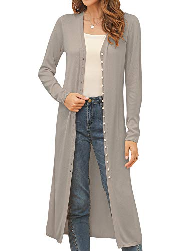 Woolen Bloom Cardigan Damen Strickjacke Lang V-Ausschnitt Langarm Cardigans mit Knöpfe Elegant Strickkleid Outwear für Frühling Sommer