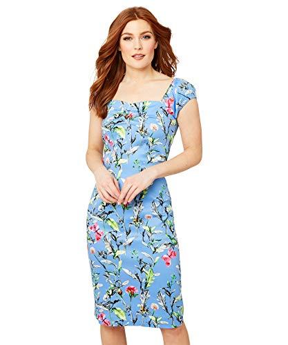 Joe Browns Vintage Floral Dress with Milkmaid Sleeves Vestido Informal, Azul, 46 para Mujer