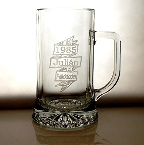 Arte-Deco Jarra DE Cerveza Stern GRABADA Y Personalizada con AÑO DE Nacimiento EN Banda. Jarra 520 ML con Estuche, Regalo para cumpleaños, Hombre, Mujer y Cualquier celebración