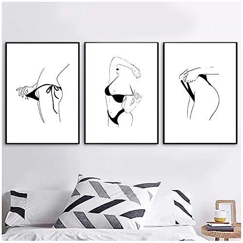juntop Cuadro en Lienzo Arte de la Pared Carteles e Impresiones Chicas Desnuda Cuadro Blanco y Negro Cartel Minimalista nórdico 40x60 cm / 15.7