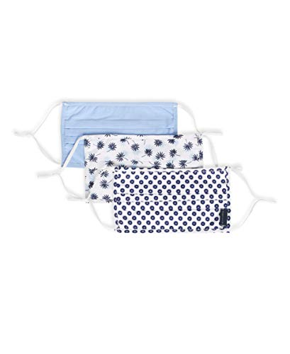Perry Ellis Reusable Pleated Woven Fabric Face Masks (Pack of 3, Assorted Colors), White...