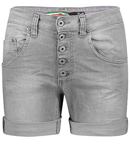 Please Damen Jeans Short P88A Boyfriend - Grau - Grigio Denim XXS XS S M L XL Stretch 98% Baumwolle Kurze Hose Bermuda, Größe:XXS, Farbe:Grigio Denim (1955)