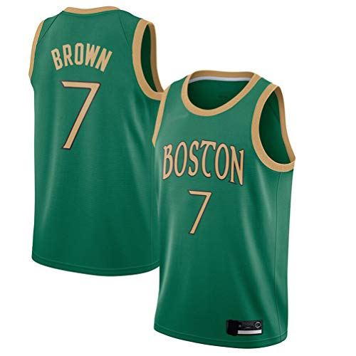 Men's Trail T-Shirt Celtics Brown 7# Jersey Jaylen Youth Icon Edition Swingman Jersey Short Sleeve Sport Top (Green Retro, M)