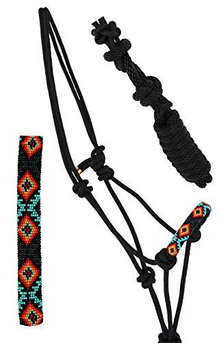 Nylon Horse Braided Beaded Noseband Rope Halter Lead Rope Tack Black 606RT28