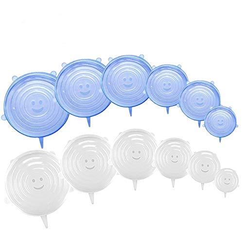 Inslife Tapas de silicona elásticas, 12 unidades, varios tamaños, cubiertas para tarros , platos y frutas, Fundas para Tazones de Silicona, sin BPA, seguro en lavavajillas, microondas y congelador