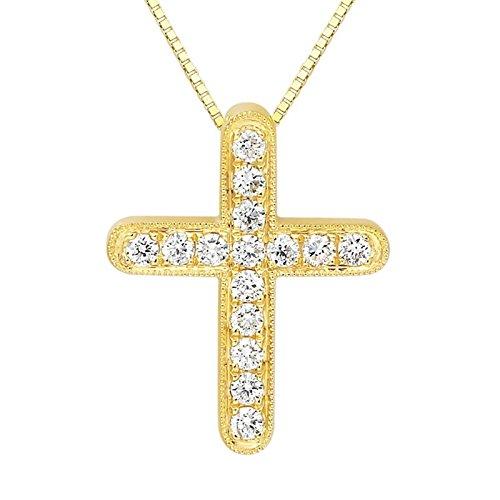 Aooaz Schmuck Damen Halskette Kette 18K Gelbgold 15 Diamant Runde Gold Kreuz Anhänger Halskette Kette 45CM
