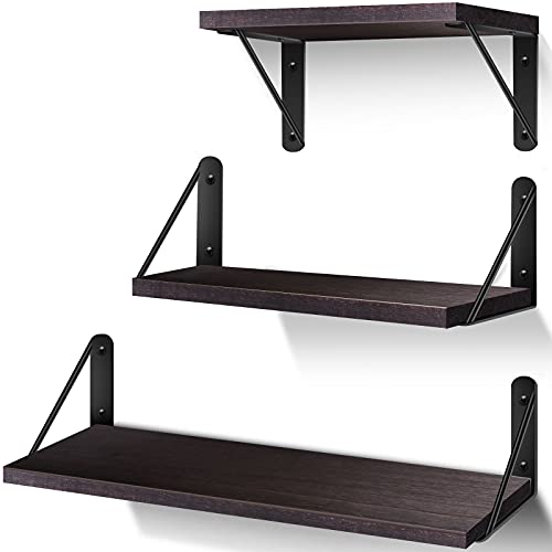 Floating Shelf for Wall, Rustic Wood Wall Mounted Shelves Set of 3 for Bedroom, Bathroom, Living Room, Kitchen, Office, Brown
