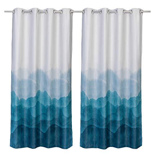 Kyrielle Verdunkelungsvorhang Merging Blue, 2 Stück 132x216 cm - abdunkelnder Thermo-Vorhang mit Ösen-Aufhängung in einem einzigartigen Design