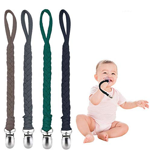 Pacifier Clips for Boys and Girls, Baby Holder Leash, Baby and Toddler Pacifier Metal Clips, Baby Teether Toy, Handmade Pacifier Clips 4 Pack (Brown/Dark Gray/Dark Green/Navy Blue)