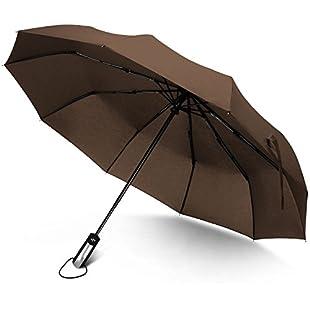 Junefish Travel Windproof Umbrella Unbreakable Automatic Compact Umbrellas Men/Women One Handed Operation, 10 Ribs Reinforced Windproof Umbrella, Stainless Steel & Fiberglass Construction (brown)