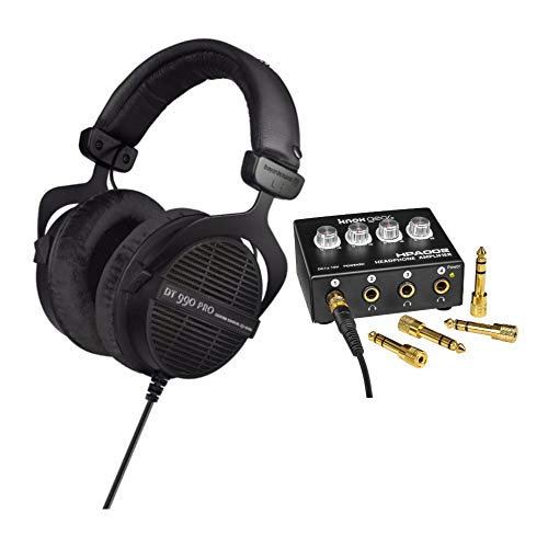 beyerdynamic DT 990 PRO 250 ohm Studio Headphones (Ninja Black, Limited Edition) with 4-Channel Headphone Amplifier Bundle (2 Items)