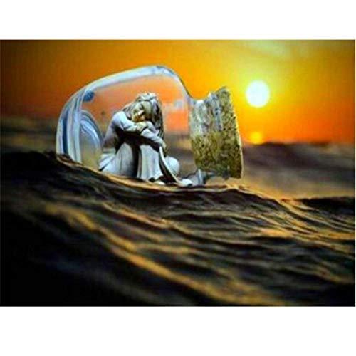 DIY 5D Diamond Painting Kit Chica botella a la deriva al atardecer de diamantes de imitación de cristal, bordado de punto de cruz, manualidades para decoración de pared30X40cm(Sin marco)