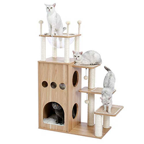 Made4Pets Cat Tree Modern Cat Tower Featuring with Fully Sisal Covering Scratching Posts, Deluxe...