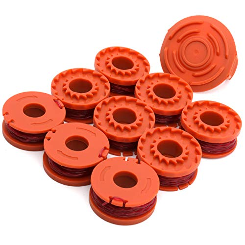 """TIOIT Wa0010 Replacement Trimmer Spool line for Worx WG154 WG163 WG180 WG175 WG155 String Trimmer Weed Eater,Weed Wacker Spool Replacement Parts10ft 0.065 """"Trimmer Line Refills (9 Spool 1 Cap)"""