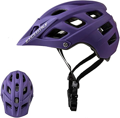 Mountain Bike Helmet, Easy Attached Visor Safety Protection Comfortable Lightweight Cycling Mountain & Road Bicycle Helmets for Adult Men Women-purple