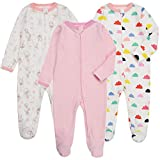 Baby Girls Footed Pajamas Zipper with Mittens - 3 Packs Infant Footie Onesies Sleeper Cotton Sleepwear Outfits(3-6 Months, Pink/Mushroom/Cloud)