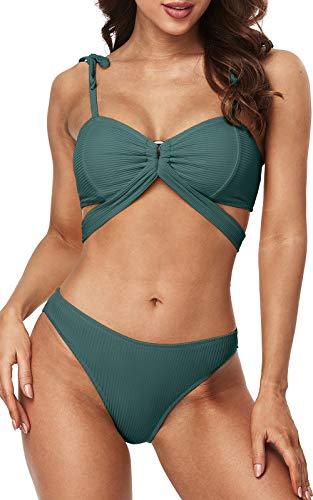 Charmo Bathing Suits for Women Tie Shoulders Bikini 2 Piece Green Swimwear Set L