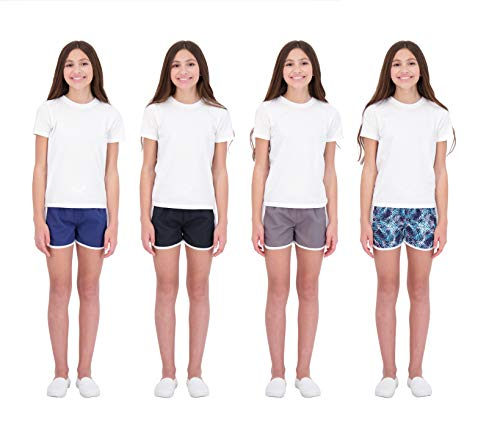 Hind Kids Girls 4-Pack Athletic and Running Activewear Shorts (Black-Gray-Navy-Blue, 10-12)