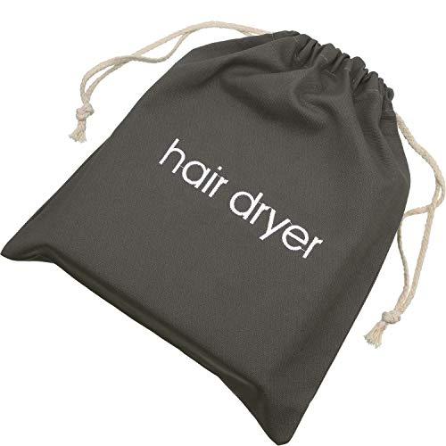 Haartrockner Taschen Baumwolle Kordelzug Tasche Behälter Haartrockner Tasche, 11,8 x 13,8 Zoll (Grau)