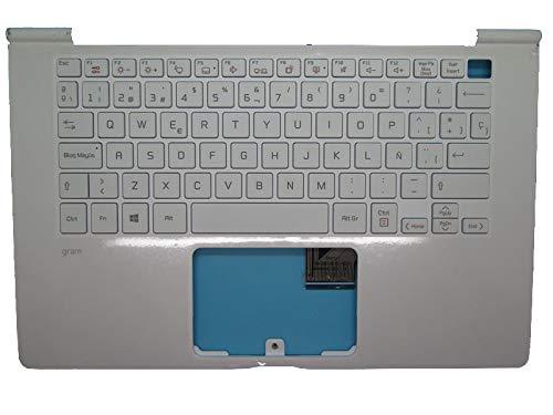 RTDpart Reposamuñecas y Teclado Blanco para portátil LG 14Z970-GA5HK 14Z970-G.AA52C 14Z970-G.AA53C 14Z970-G.AA75C 14Z970-G.AA76C 14Z970-GA55J 14ZD970 España SP con retroiluminado sin Panel táctil