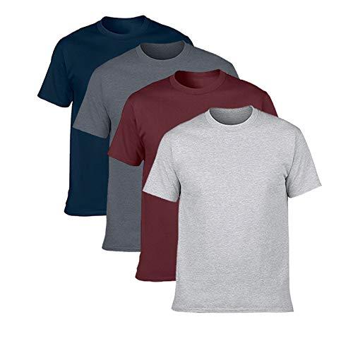 NewDenBer Men's Classic Basic Solid Ultra Soft Cotton T-Shirt 4 Pack Navy/Dark Heather/Maroon/Grey, L