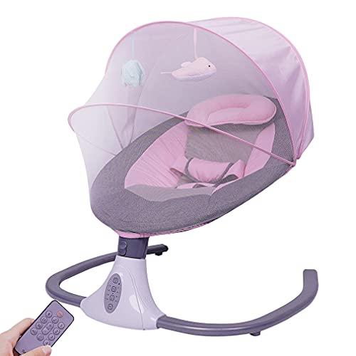 KTops Cama Mecedora eléctrica para recién Nacido Silla de Hamaca para bebé con Mando a Distancia Función de sincronización Música inalámbrica Bluetooth Mosquitera extraíble Silla de Columpio