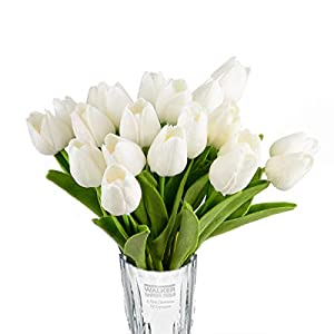 Silk Flower Arrangements HoveBeaty Artificial Tulips Bridal Wedding Festival Decor Bouquet Real Touch PU Flower Bouquet Pack of 20 (White)