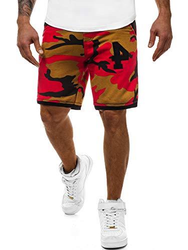 OZONEE Herren Sporthose Kurz Shorts Sweatpants Trainingshose Kurze Hose Bermuda Sportshorts Jogginghose Freizeithose Laufshorts Sweatshorts Herrenhose Sport MECH/2108S ROT-BRAUN M
