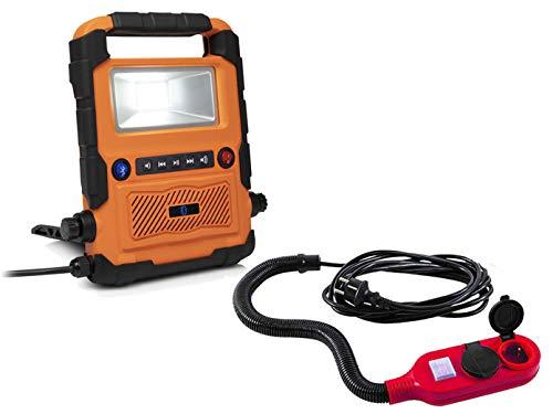 Faretto LED da cantiere da 20 Watt / radio da cantiere Bluetooth con 2 prese di prolunga, lampada da lavoro e lampada da cantiere