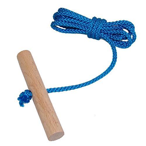 Schlittenseil Zugseil 1,50 mtr. lang mit Buchenholzgriff für Schlitten Bobs Rodel viele Farben lieferbar (blau)