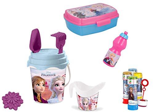 st Set N 16 Accessori Mare Bambini (Porta MERENDA + Borraccia + Set Secchiello + Bolle) (Frozen)