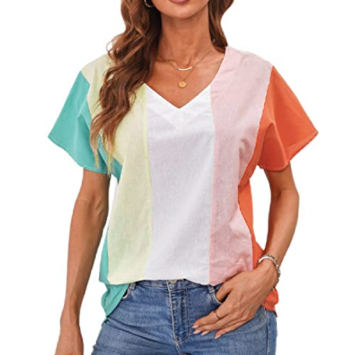 Camiseta de Manga Corta Estampada para Mujer, a la Moda, a Rayas, con Personalidad, Tendencia, Suelta, cómoda, con Cuello en V, Camiseta L