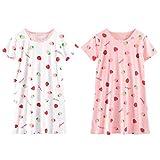 YFPICO Mädchen Nachthemd Süß Baumwolle Kurz Sommer Sleepshirt für 3-14 Jahre für legeres Sleepwearkleid,tägliche Hauptabnutzung, 2 PCS, 152/158