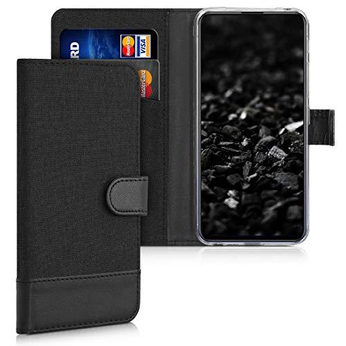 kwmobile Wallet Hülle kompatibel mit Asus ZenFone 6 (ZS630KL) - Hülle mit Ständer - Handyhülle Kartenfächer Anthrazit Schwarz