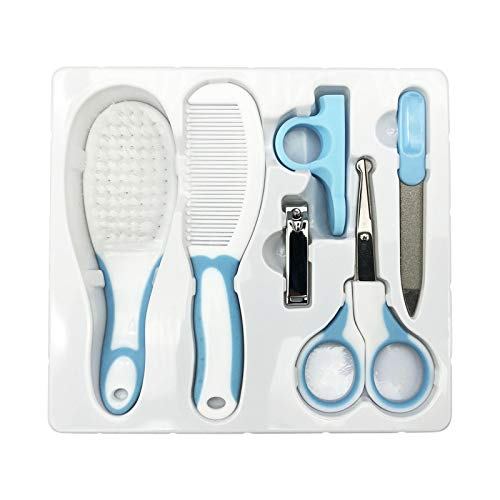 TX 6 Piezas Kit Set para el Cuidado del bebé, Juego de Cuidado para guardería con Tijera de Seguridad Lima para uñas