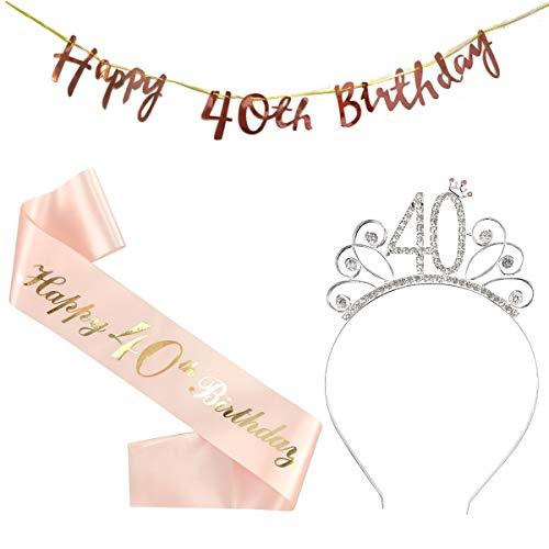 cappello 40 anni compleanno 40 Compleanno Fascia Oro Rosa 40 Anni di Compleanno Donna Tiara Birthday Corona per Compleanno 40 Coroncina di Compleanno Happy Birthday Banner Decorazioni Accessori per Compleanno Ragazza