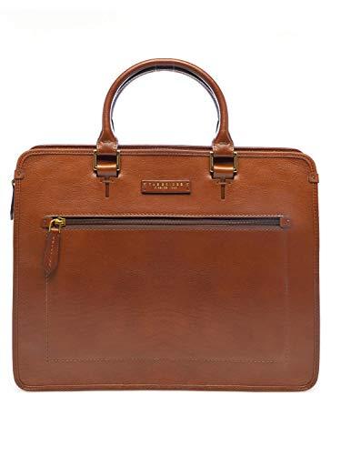 Cartella Ventiquattrore THE BRIDGE briefcase borsa tracolla porta Pc apertura zip pelle uomo marrone 31x39x9 cm 46232901