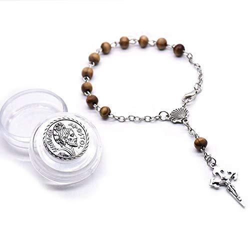 JINKEBIN Pulsera religiosa con rosario de madera marrón, pulsera de cruz vintage compatible con hombres y mujeres con mini caja