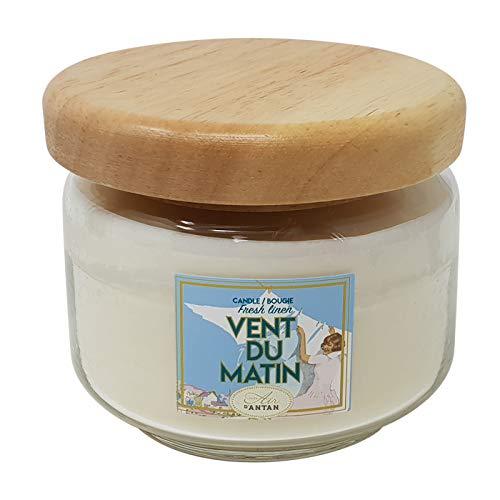 Un Air d'Antan® heerlijk geurende kaars vers linnen met natuurlijke plantaardige was in een luxe glazen pot met houten deksel 350ml – jeugdherinneringen geur...