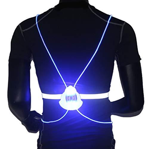 Morebrave LED Reflective Running Lighted Running Vest Safety Gear Multicolored Fiber Optics Light Pipe Luminous Sport Vest Walking Cycling Running (Women Men Kid) (Blue)
