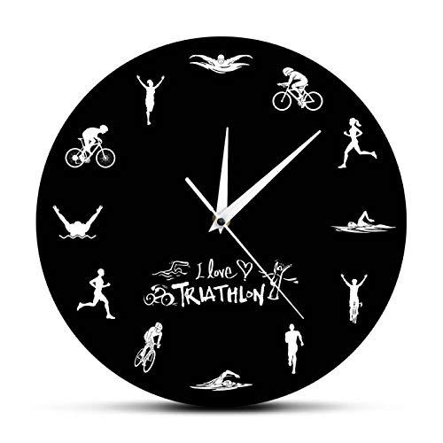 xinxin Relojes de Pared Triatlón Reloj de Pared Moderno Natación Bicicleta Ciclismo Correr Deportes Decoración del hogar Triatleta Reloj de Pared Reloj Ventiladores de triatlón Regalo