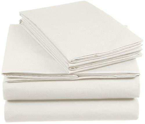 AmazonBasics 'Everyday' Bettwäscheset aus 100% Baumwolle, Elfenbein 260x220cm & 2 Kissenbezüge 50x80cm