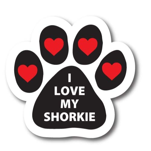 Magnet Me Up I Love My Shorkie Pawprint Car Magnet Paw Print Auto Truck Decal Magnet