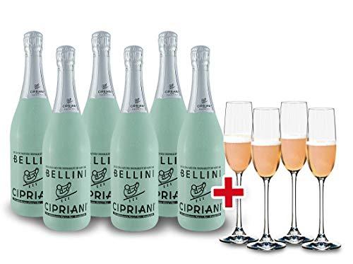 Bellini Cipriani Cocktail | Viticoltori Ponte | Italien-Venetien | (6x 0,75l) inkl. 4x Spiegelau-Sektglas