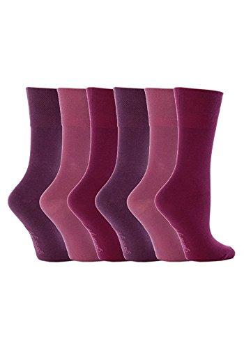 Gentle Grip - 6 Paar Damen Ges&heitssocken Diabetiker Druckfreie Spitze Handgekettelt Baumwollanteil Ebene Socken 37-42 EUR (Rosa (GG15))