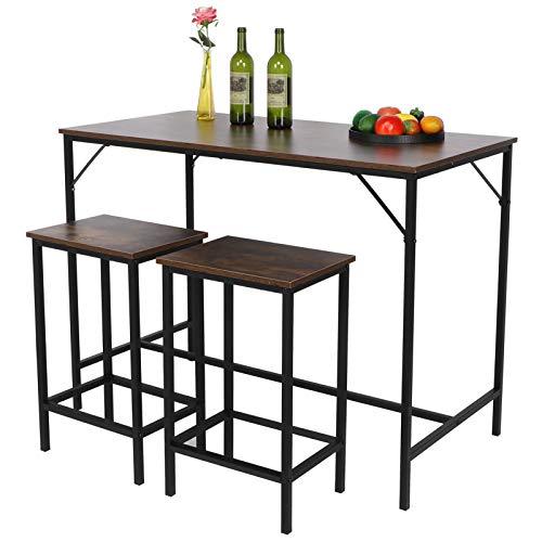 Ausla 1 mesa y 2 sillas de madera simple taburete de bar conjunto mesa de comedor silla muebles de cocina