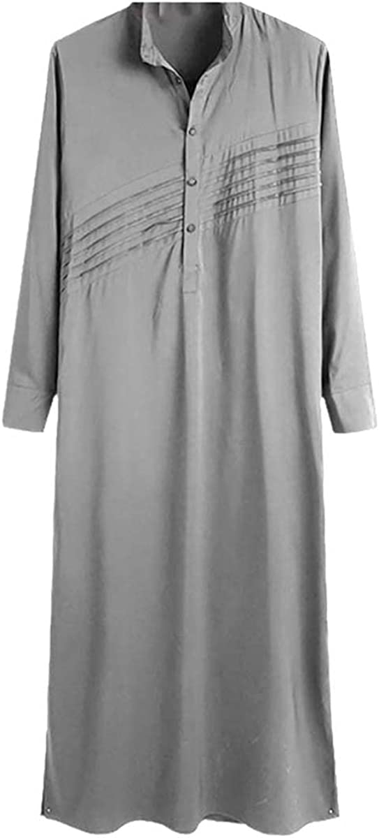 Vintage button Muslim kaftan robe men's long-sleeved stand-collar retro robe Abaya Jubba Thobe Dubai clothing