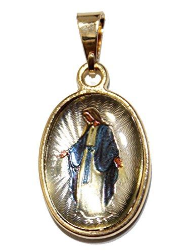 Virgen Milagrosa - Medalla de Nuestra Señora Milagrosa chapada en oro de 18 quilates con cadena de 50,8 cm