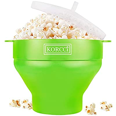 Original Microwaveable Silicone Popcorn Popper, BPA Free Collapsible Hot Air Microwave Popcorn Maker Bowl, Use In Microwave or Oven, Dishwasher Safe (Various Colors Available-Green)