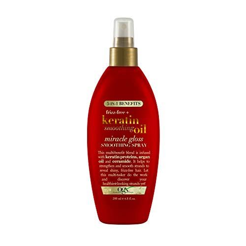 Frizz-Free + Keratin Smoothing Oil Miracle Gloss Spray, 5 in 1, De-frizz Hair, Shiny Hair, Keratin, Argan Oil